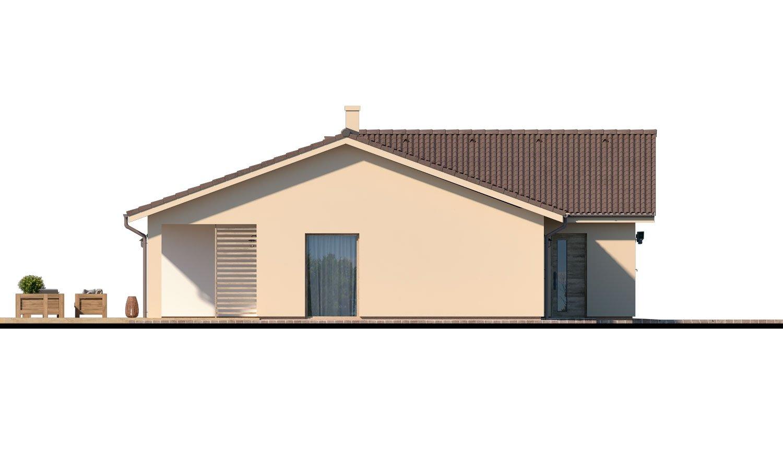 Pohľad 4. - Veľký 4-izbový bungalov s dvojgarážou a terasou, prístupnou so všetkých obytných miestností.