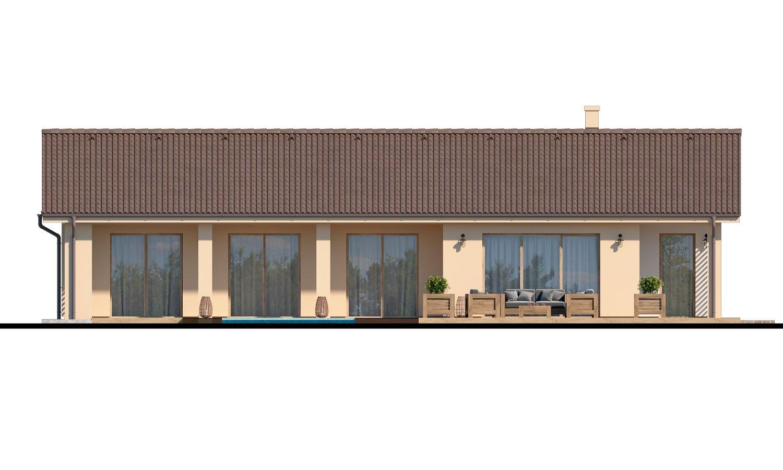 Pohľad 3. - Veľký 4-izbový bungalov s dvojgarážou a terasou, prístupnou so všetkých obytných miestností.