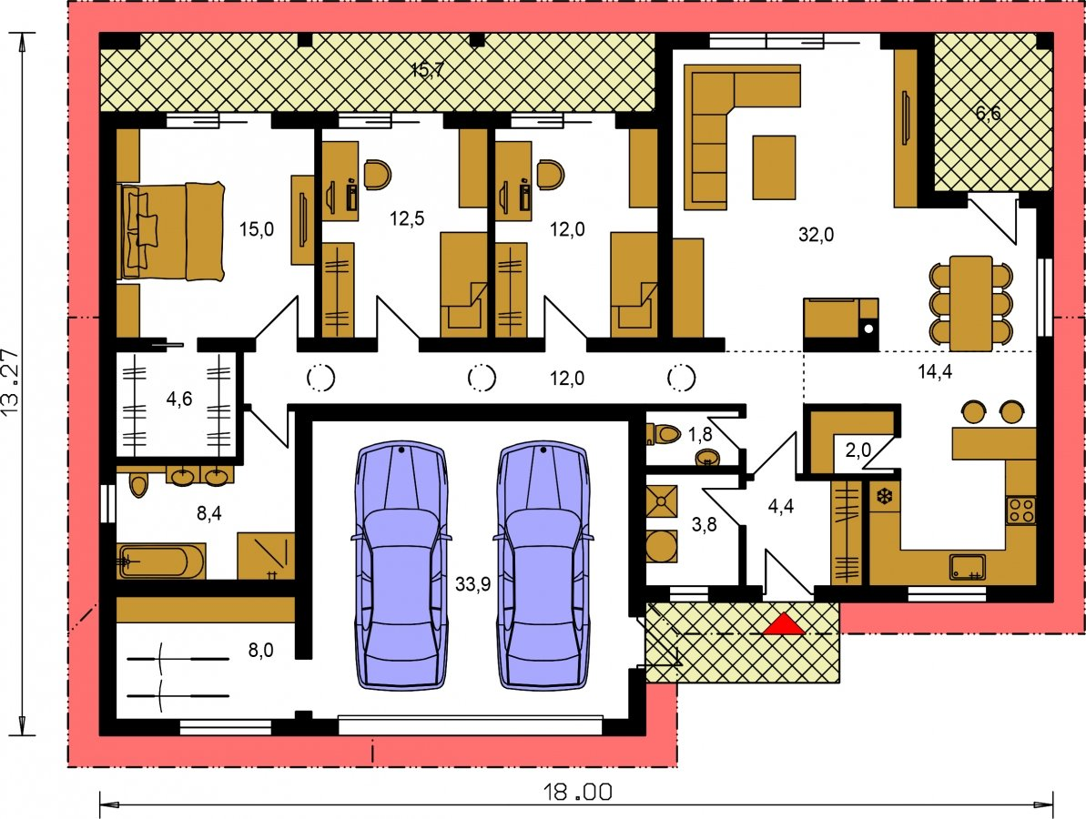 Pôdorys Prízemia - Veľký 4-izbový bungalov s dvojgarážou a terasou, prístupnou so všetkých obytných miestností.