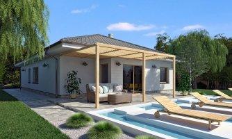 Moderný 4-izbový murovaný projekt rodinného domu domu s oddelenou garážou so skladom a krytým staním pre auto