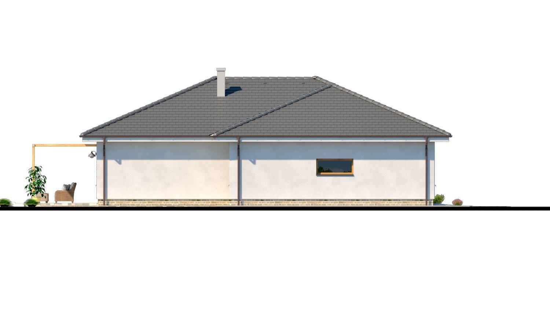 Pohľad 4. - Moderný 4-izbový murovaný projekt rodinného domu s oddelenou garážou so skladom a krytým staním pre auto.