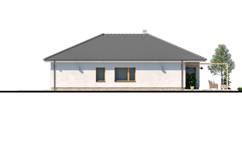 Pohľad 2. - Moderný 4-izbový murovaný projekt rodinného domu s oddelenou garážou so skladom a krytým staním pre auto.