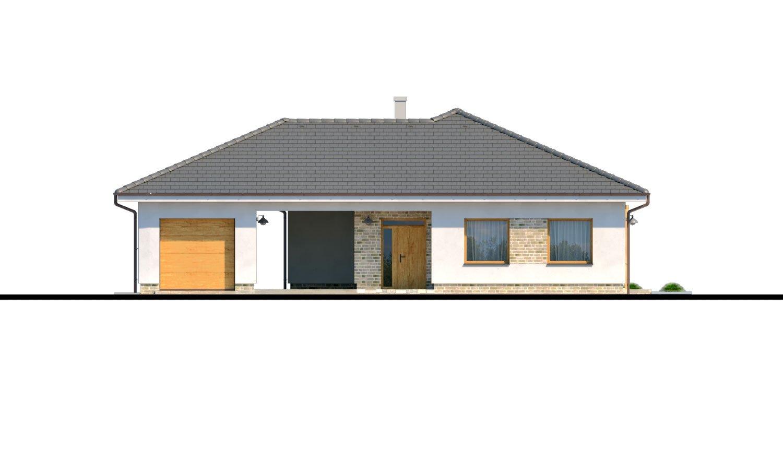Pohľad 1. - Moderný 4-izbový murovaný projekt rodinného domu s oddelenou garážou so skladom a krytým staním pre auto.