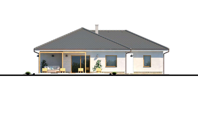 Pohľad 3. - Moderný 4-izbový murovaný projekt rodinného domu s oddelenou garážou so skladom a krytým staním pre auto.