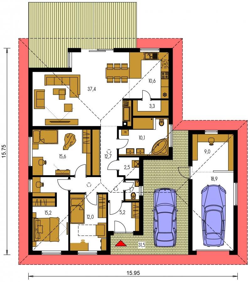 Pôdorys Prízemia - Moderný 4-izbový murovaný projekt rodinného domu s oddelenou garážou so skladom a krytým staním pre auto.