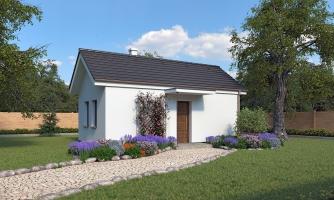Lacný murovaný dom na úzky pozemok, vhodný aj na záhradný domček, alebo chatu. Možnosť realizácie s pultovou, alebo valbovou strechou.