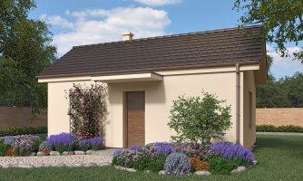 Lacný murovaný dom na úzky pozemok, vhodný aj na záhradný domček, alebo chatu, možnosť realizácie s pultovou , alebo valbovou strechou
