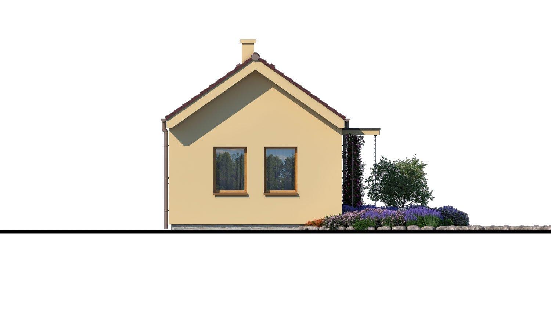 Pohľad 4. - Lacný murovaný dom na úzky pozemok, vhodný aj na záhradný domček, alebo chatu. Možnosť realizácie s pultovou, alebo valbovou strechou.