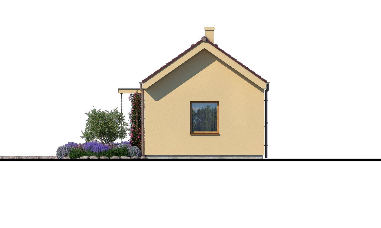 Pohľad 2. - Lacný murovaný dom na úzky pozemok, vhodný aj na záhradný domček, alebo chatu. Možnosť realizácie s pultovou, alebo valbovou strechou.