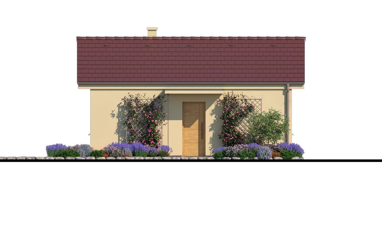 Pohľad 1. - Lacný murovaný dom na úzky pozemok, vhodný aj na záhradný domček, alebo chatu. Možnosť realizácie s pultovou, alebo valbovou strechou.