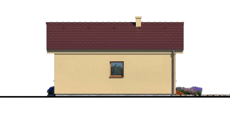 Pohľad 3. - Lacný murovaný dom na úzky pozemok, vhodný aj na záhradný domček, alebo chatu. Možnosť realizácie s pultovou, alebo valbovou strechou.