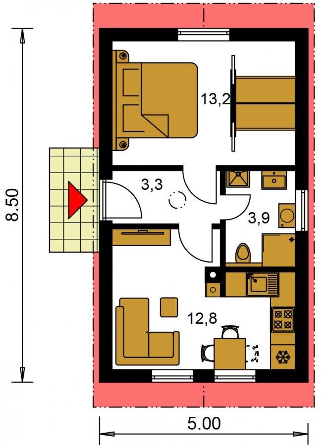 Pôdorys Prízemia - Lacný murovaný dom na úzky pozemok, vhodný aj na záhradný domček, alebo chatu. Možnosť realizácie s pultovou, alebo valbovou strechou.