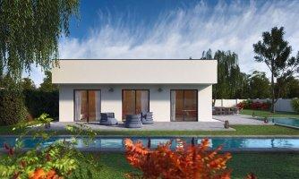 Moderný 4-izbový murovaný rodinný dom s plochou strechou, možnosť realizácie s valbovou, alebo sedlovou strechou