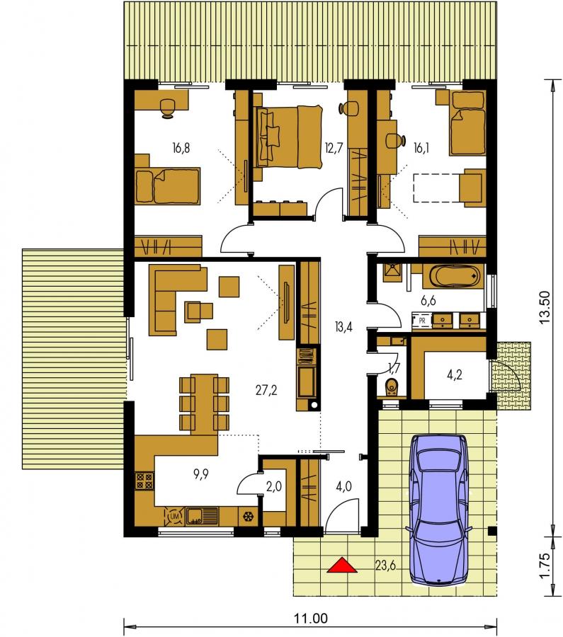 Pôdorys Prízemia - Moderný 4-izbový murovaný rodinný dom s plochou strechou. Možnosť realizácie s valbovou, alebo sedlovou strechou.