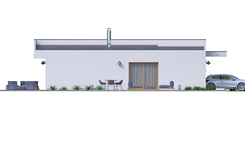 Pohľad 3. - Moderný 4-izbový murovaný rodinný dom s plochou strechou. Možnosť realizácie s valbovou, alebo sedlovou strechou.