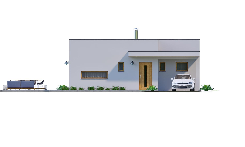 Pohľad 1. - Moderný 4-izbový murovaný rodinný dom s plochou strechou. Možnosť realizácie s valbovou, alebo sedlovou strechou.