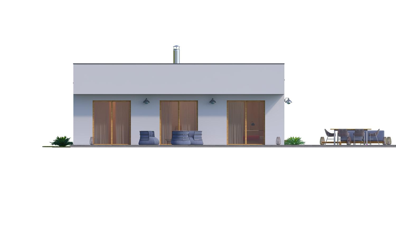Pohľad 4. - Moderný 4-izbový murovaný rodinný dom s plochou strechou. Možnosť realizácie s valbovou, alebo sedlovou strechou.