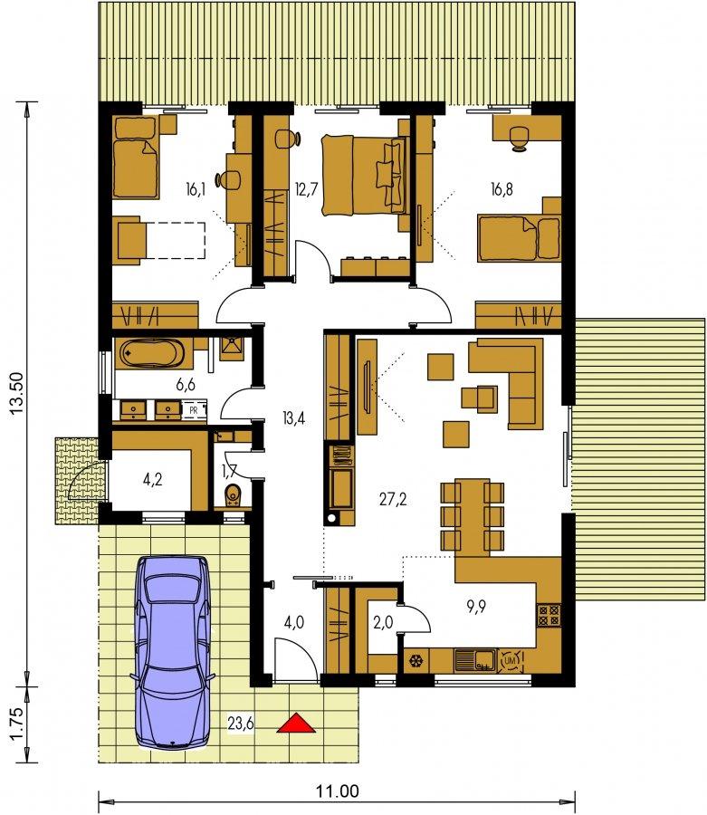Pôdorys Prízemia - Moderný 4-izbový murovaný rodinný dom s plochou strechou, možnosť realizácie s valbovou, alebo sedlovou strechou