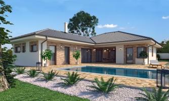 Dom roka 2018 - projekt murovaného domu do tvaru L s átriom, dvojgarážou a možnosťou pristavať naviac 2 izby