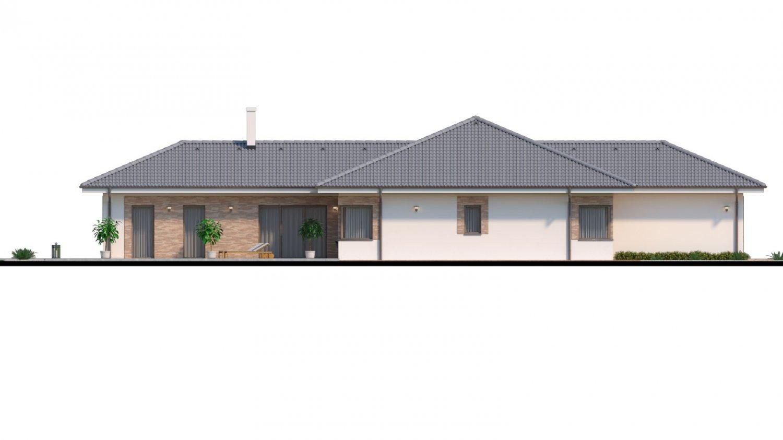 Pohľad 4. - Dom roka 2018 - projekt murovaného domu do tvaru L s átriom, dvojgarážou a možnosťou pristavať naviac 2 izby.
