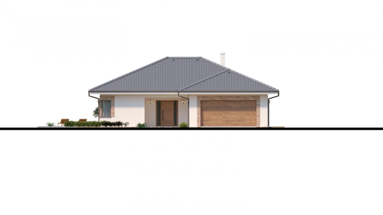 Pohľad 1. - Dom roka 2018 - projekt murovaného domu do tvaru L s átriom, dvojgarážou a možnosťou pristavať naviac 2 izby.