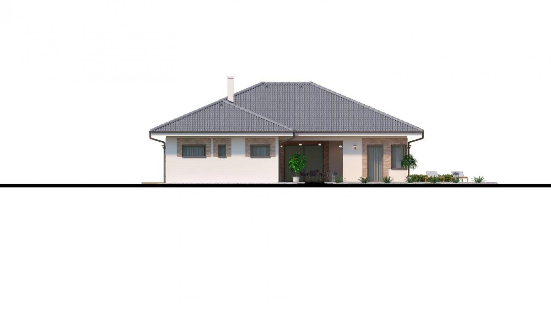 Pohľad 3. - Dom roka 2018 - projekt murovaného domu do tvaru L s átriom, dvojgarážou a možnosťou pristavať naviac 2 izby.