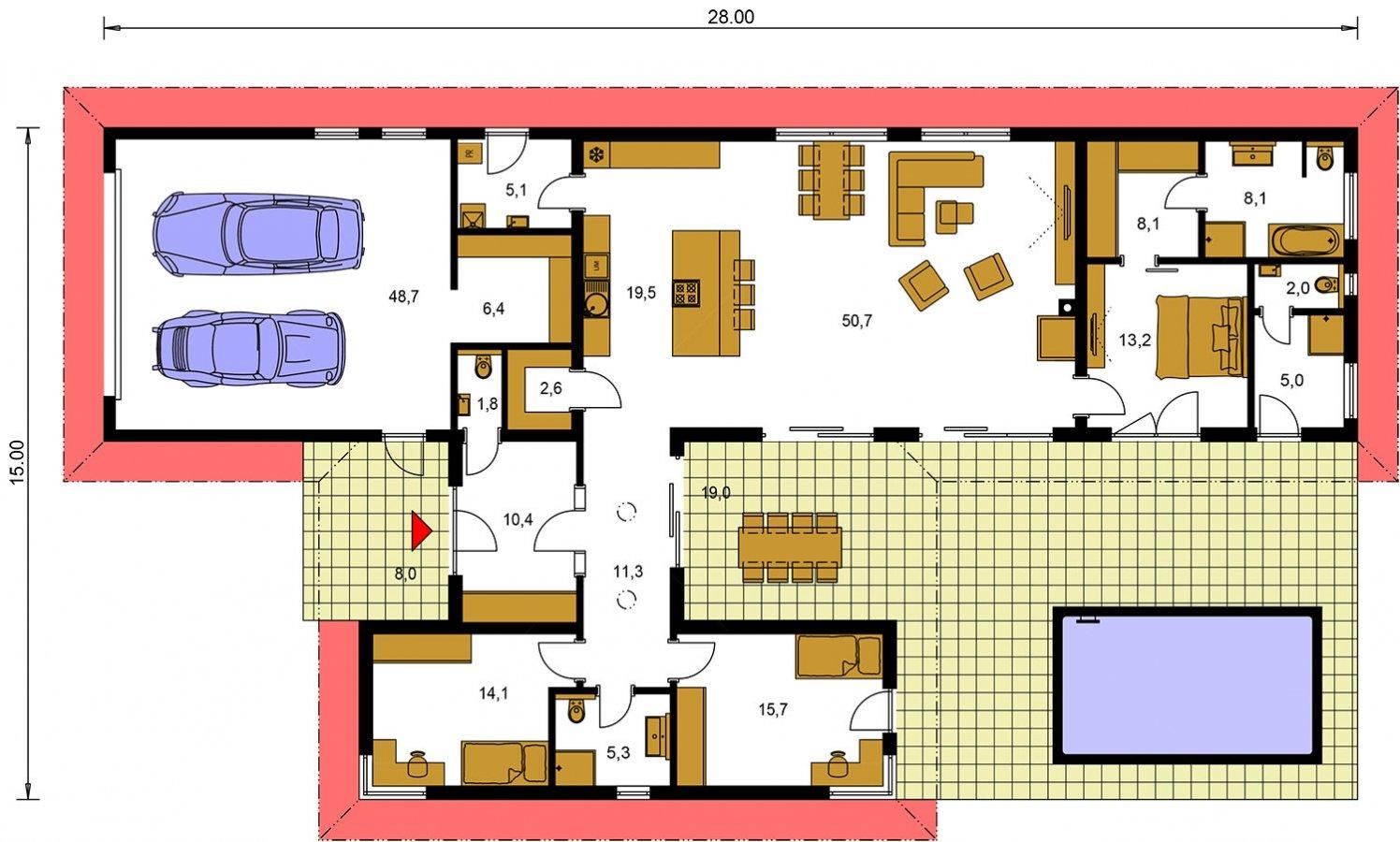 Pôdorys Prízemia - Dom roka 2018 - projekt murovaného domu do tvaru L s átriom, dvojgarážou a možnosťou pristavať naviac 2 izby.