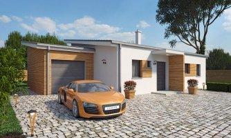 Moderný malý murovaný rodinný dom s garážou, pultovou strechou, možná realizácia s dvojgarážou, alebo bez garáže