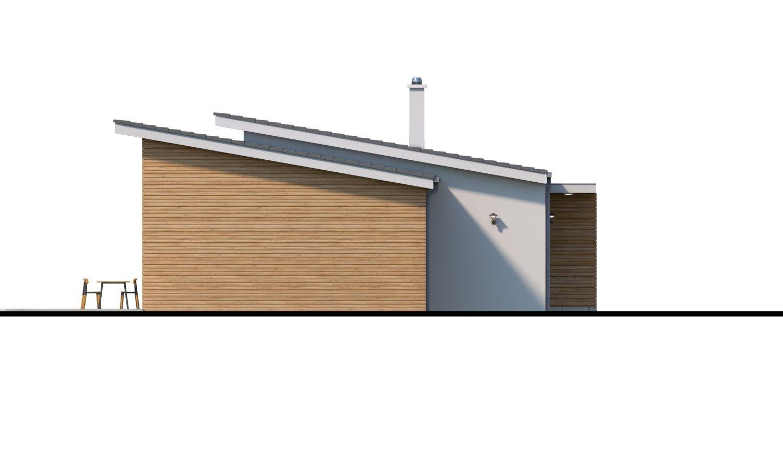 Pohľad 4. - Moderný malý murovaný rodinný dom s garážou, pultovou strechou. Možná realizácia s dvojgarážou, alebo bez garáže. Vhodný aj ako dvojdom, alebo do radovej zástavby.