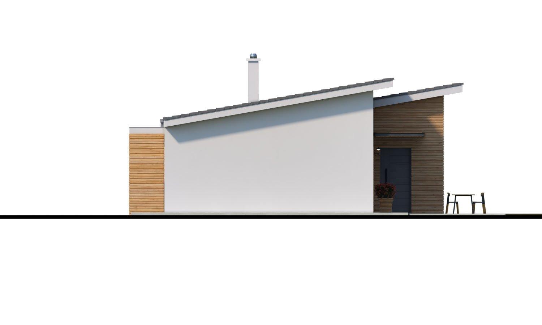 Pohľad 2. - Moderný malý murovaný rodinný dom s garážou, pultovou strechou. Možná realizácia s dvojgarážou, alebo bez garáže. Vhodný aj ako dvojdom, alebo do radovej zástavby.