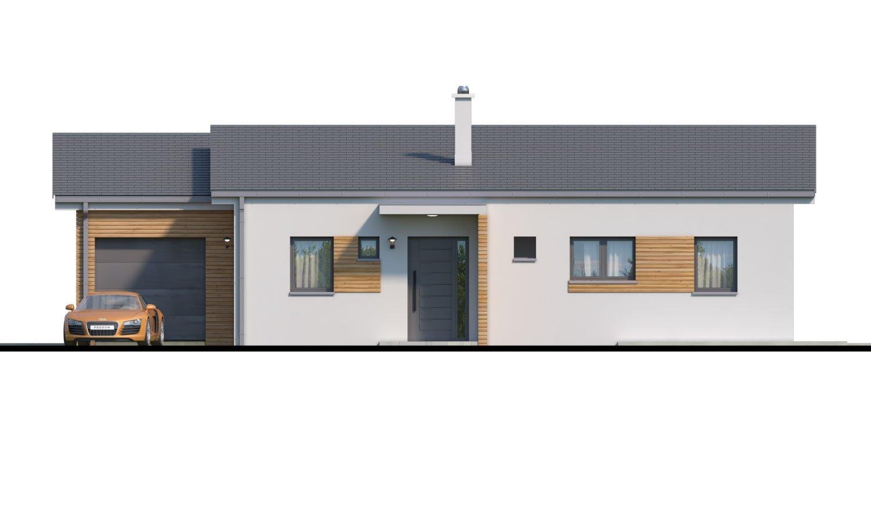 Pohľad 1. - Moderný malý murovaný rodinný dom s garážou, pultovou strechou. Možná realizácia s dvojgarážou, alebo bez garáže. Vhodný aj ako dvojdom, alebo do radovej zástavby.