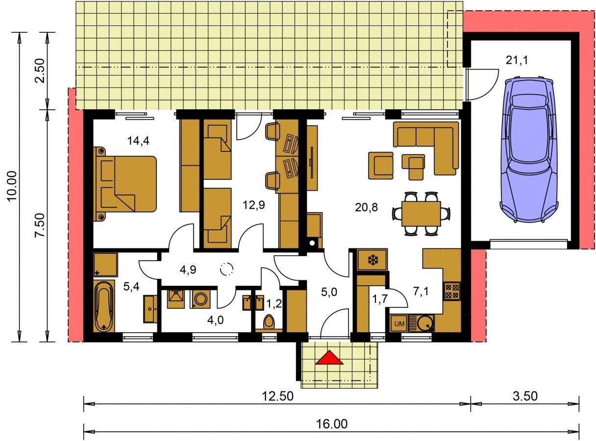 Pôdorys Prízemia - Moderný malý murovaný rodinný dom s garážou, pultovou strechou. Možná realizácia s dvojgarážou, alebo bez garáže. Vhodný aj ako dvojdom, alebo do radovej zástavby.