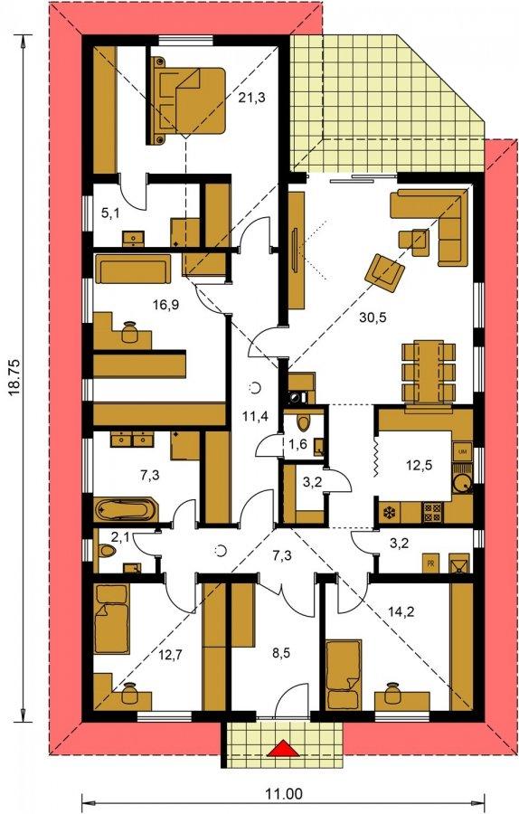 Pôdorys Prízemia - Krásny 5-izbový murovaný bungalov s valbovou strechou a krbom, možná zmena na dom so sedlovou strechou