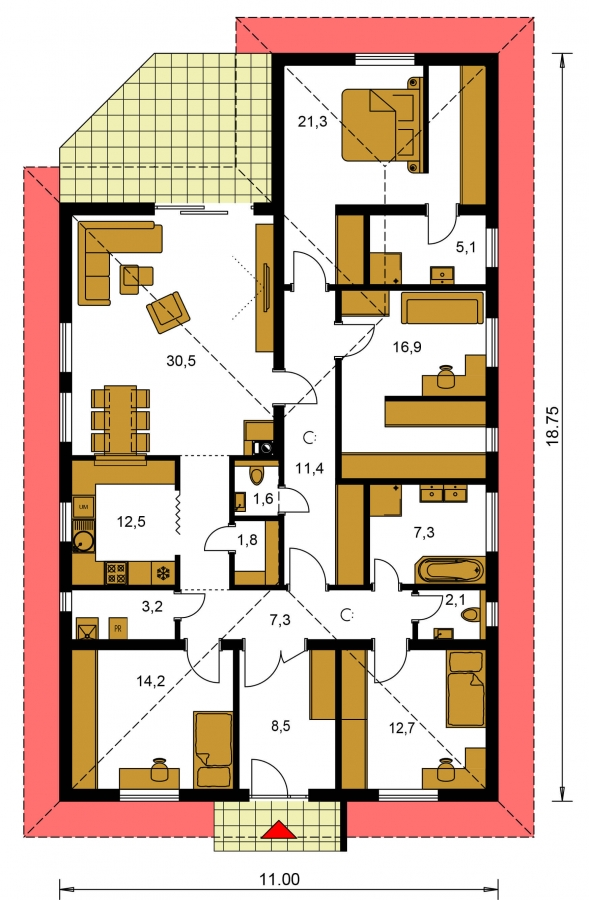 Pôdorys Prízemia - Krásny 5-izbový murovaný bungalov s valbovou strechou a krbom.