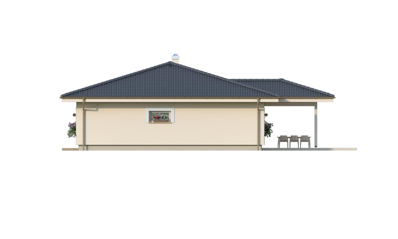 Pohľad 2. - 4-izbový bungalov s prekrytou terasou a valbovou strechou.