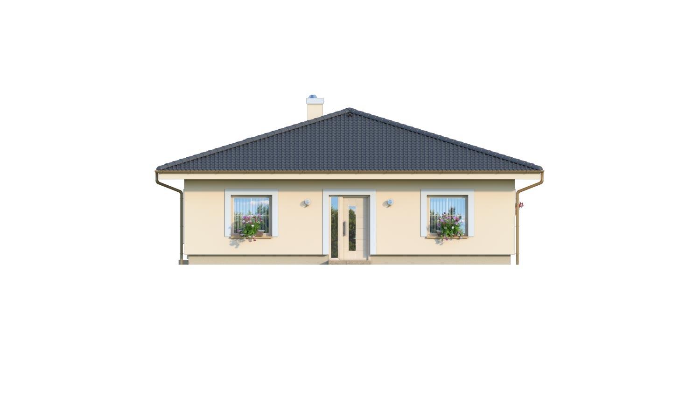 Pohľad 1. - 4-izbový bungalov s prekrytou terasou a valbovou strechou.