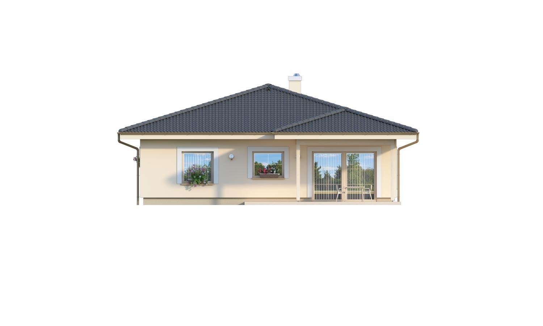 Pohľad 3. - 4-izbový bungalov s prekrytou terasou a valbovou strechou.