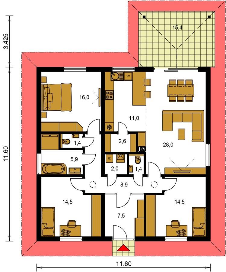 Pôdorys Prízemia - 4-izbový bungalov s prekrytou terasou a valbovou strechou.