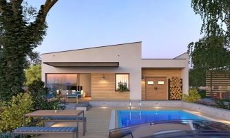 Moderný  rodinný dom do L s pultovou strechou, vhodný aj do radovej zástavby. Možnosť realizácie bez prístavby.