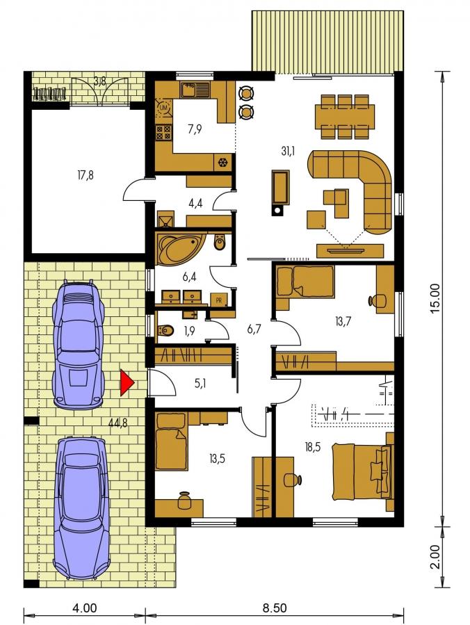 Pôdorys Prízemia - Moderný  rodinný dom do L s pultovou strechou, vhodný aj do radovej zástavby. Možnosť realizácie bez prístavby.
