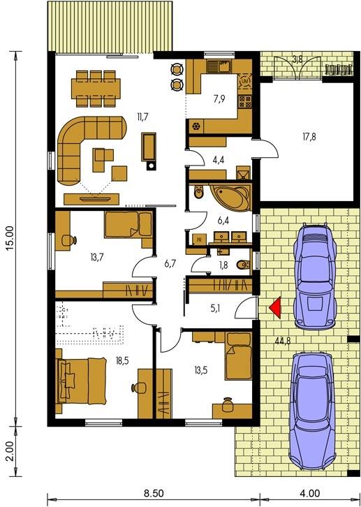Pôdorys Prízemia - Moderný rodinný dom do l s pultovou strechou, vhodný aj do radovej zástavby, možnosť realizácie bez prístavby