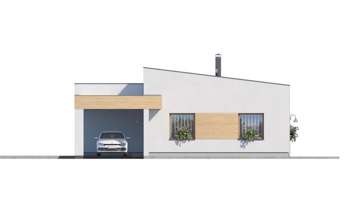 Pohľad 1. - Moderný  rodinný dom do L s pultovou strechou, vhodný aj do radovej zástavby. Možnosť realizácie bez prístavby.