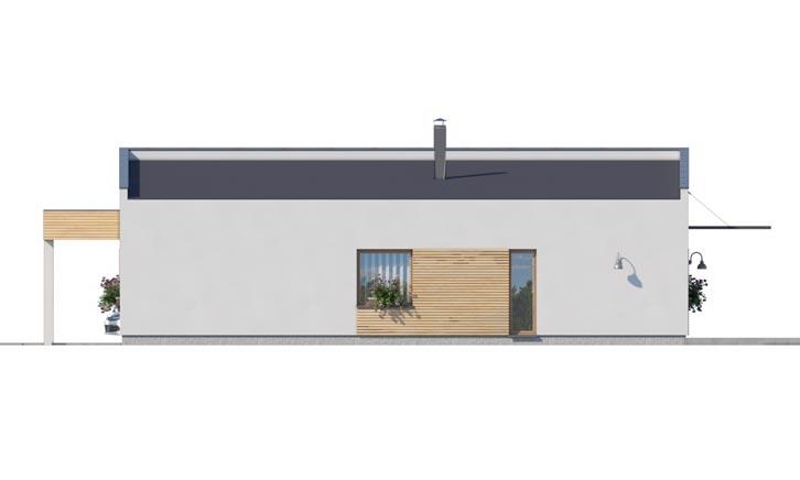 Pohľad 2. - Moderný  rodinný dom do L s pultovou strechou, vhodný aj do radovej zástavby. Možnosť realizácie bez prístavby.