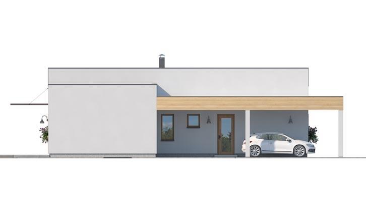 Pohľad 3. - Moderný  rodinný dom do L s pultovou strechou, vhodný aj do radovej zástavby. Možnosť realizácie bez prístavby.