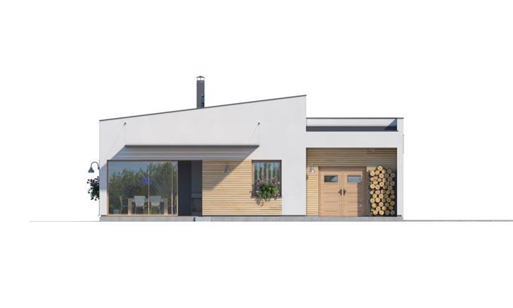 Pohľad 4. - Moderný  rodinný dom do L s pultovou strechou, vhodný aj do radovej zástavby. Možnosť realizácie bez prístavby.