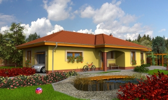 Projekt domu na úzky a dlhý pozemok s garážou.