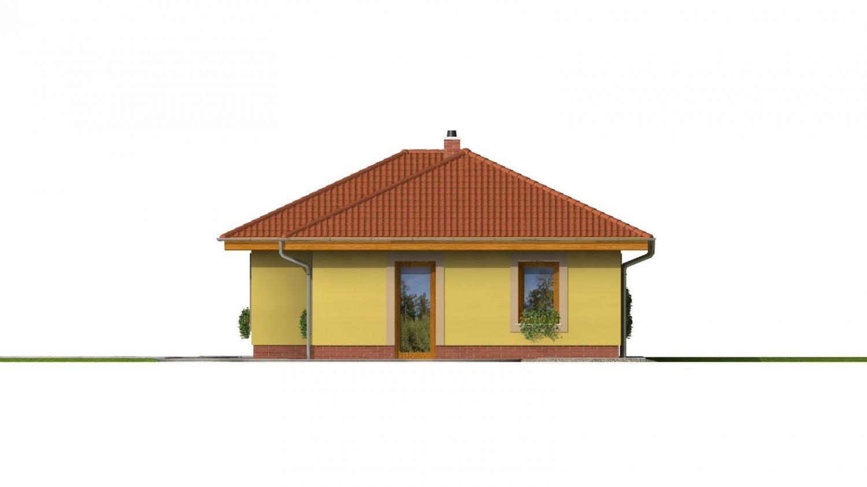 Pohľad 4. - Projekt domu na úzky a dlhý pozemok s garážou.