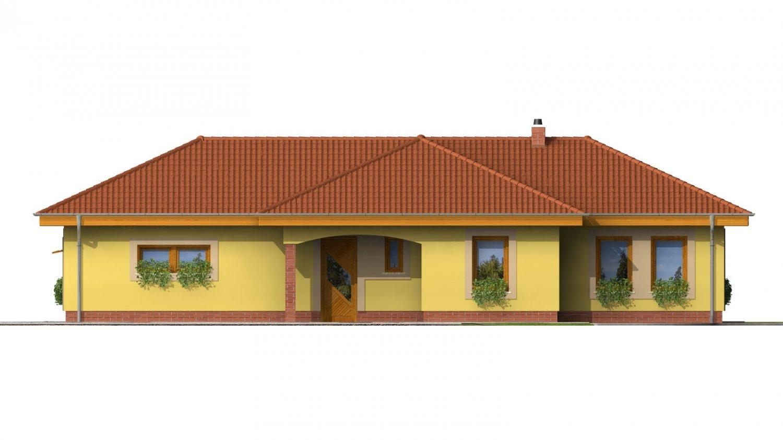 Pohľad 1. - Projekt domu na úzky a dlhý pozemok s garážou.