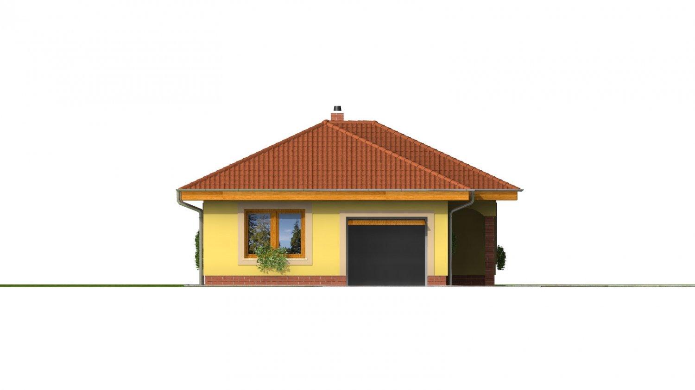 Pohľad 2. - Projekt domu na úzky a dlhý pozemok s garážou.