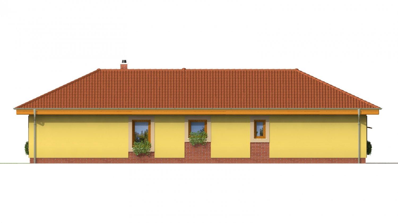 Pohľad 3. - Projekt domu na úzky a dlhý pozemok s garážou.